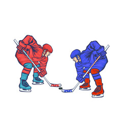 two hockey players isolated on a white background vector image