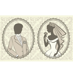Vintage lady in a dress vector image