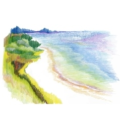 Watercolor river natural landscape vector image