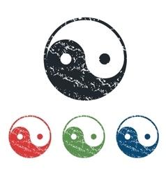 Ying yang grunge icon set vector