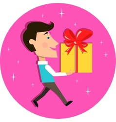 Young man carrying present gift box vector