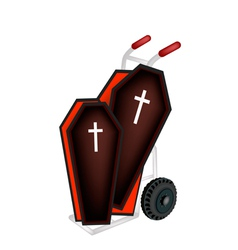 A hand truck loading two black coffin vector
