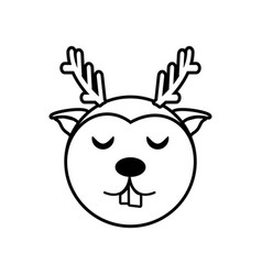 face reindeer animal outline vector image vector image