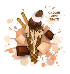 ice cream chocolate cone colorful dessert icon vector image vector image