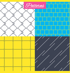 Mosaic diagonal lines and grid textures vector