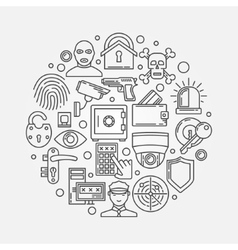 Security outline round vector image