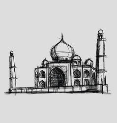 taj mahal sketch drawing monument vector image