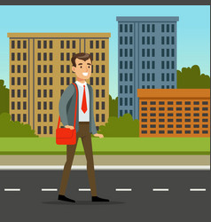 happy man in official clothes walking down the vector image vector image