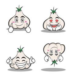 garlic cartoon character set collection vector image vector image
