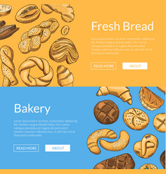 hand drawn colored bakery elements web vector image