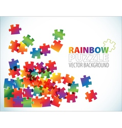 rainbow puzzle background vector image vector image