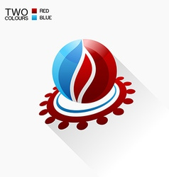 symbol fire Red and blue Round glass icon with vector image vector image