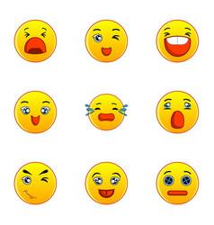yellow smileys icons set flat style vector image vector image