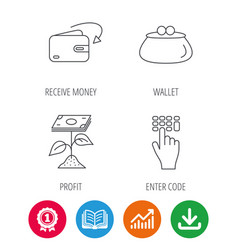 Cash money profit and wallet icons vector