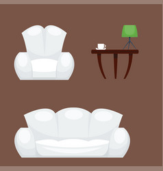 Exclusive sitting furniture bedroom with couch vector