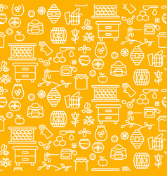 honey outline icon seamless yellow pattern vector image
