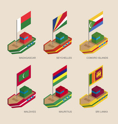 isometric ships with flags of asian countries vector image