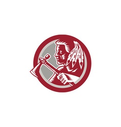 Native American Tomahawk Warrior Circle vector image vector image