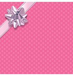 Pink polka dot present background vector