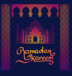 Ramadan islamic holiday card greeting lettering vector
