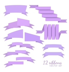 Set of 12 ribbons vector image vector image