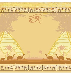 Traditional Horus Eye and camel caravan in wild vector image