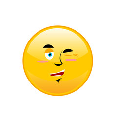 winks emoji isolated happy yellow circle emotion vector image vector image