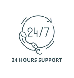 24 hours support line icon 24 hours vector image