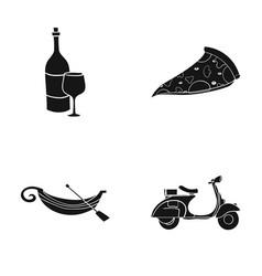a bottle of wine a piece of pizza a gundola a vector image
