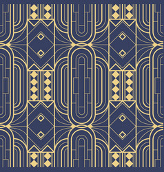 Abstract art deco geometric tiles pattern on blue vector