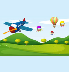 Airplane and sky activity vector