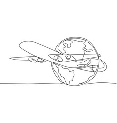 airplane around earth single continuous line vector image