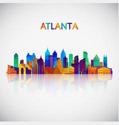 Atlanta skyline silhouette in colorful geometric vector