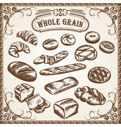 bakery set whole grain vector image