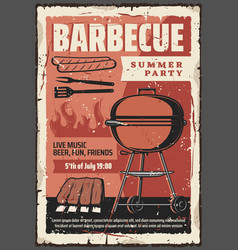 barbecue sausages and meat grill summer party vector image