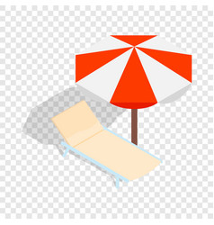 Beach chaise lounge with umbrella isometric icon vector