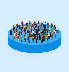 Big people crowd in circle society concept vector