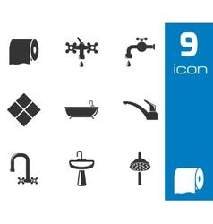 black bathroom icons set vector image vector image