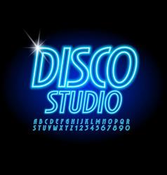 blue neon banner disco studio modern font vector image