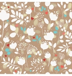Brown floral seamless pattern with white flowers vector