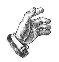 Businessman hand make gesture monochrome vector