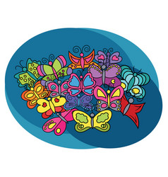 butterflies design set vector image