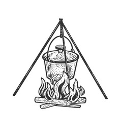Cauldron pot on fire sketch vector
