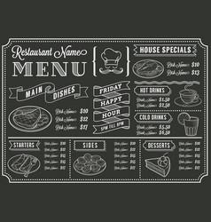 chalkboard restaurant menu template vector image