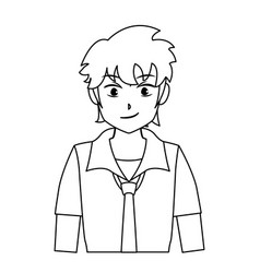 Character boy anime teenager outline vector
