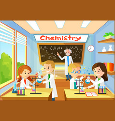 Chemistry classroom with students and teacher vector