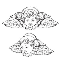 Cherub cute curly smiling baby boy angel set vector