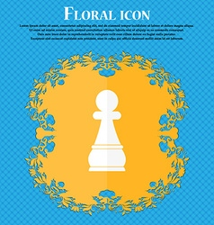 Chess Pawn icon Floral flat design on a blue vector image