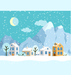 Christmas winter landscape with small vector