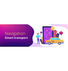 City navigation apps smart city header banner vector